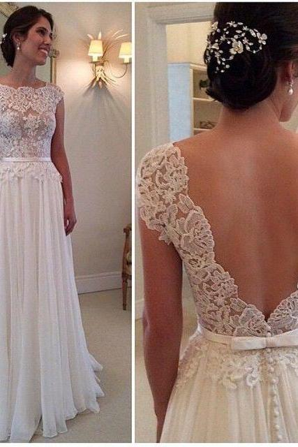 Cap Sleeves Lace Wedding Dress,Cheap Wedding Dresses,Lace Bridal Dress,V-back Lace Wedding Dresses,Discount Bridal Gowns