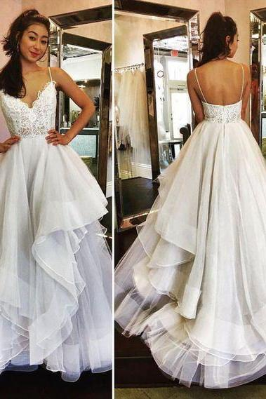 Charming Prom Dress,Tulle Prom Dress, Spaghetti Straps Prom Dress,V-Neck Evening Dress