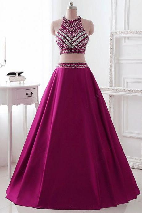 Two Pieces Prom Dress ,Brilliant Purple with Rhinestone Prom Dresses ,2017 Fashion Sashes A-Line Evening Party Prom Dresses Hot Sale