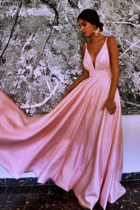 pink bridesmaid dress,long stain gowns,v neck prom dress,pink prom long dresses