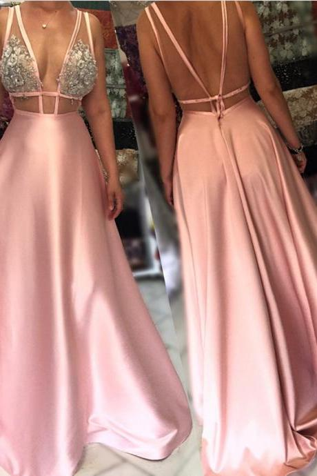 Pink Prom Dress,Open Back Evening Gowns,Long Formal Dress,Sexy Long Party Dress
