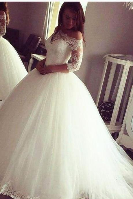 Vintage Wedding Dresses,long sleeves Wedding Gowns,ball gowns Wedding Dresses,off the shoulder wedding dress
