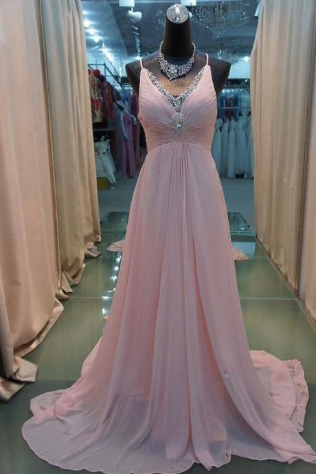Pink Spaghetti Straps V-neckline Chiffon Prom Dresses, Pink Party Gowns, Prom Dresses 2018