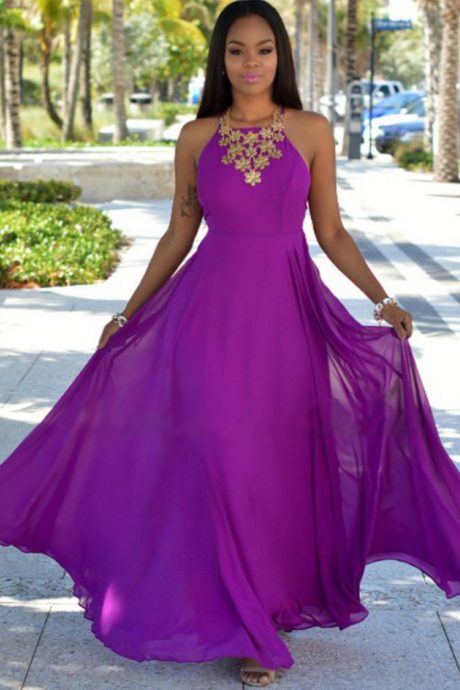 Purple Chiffon Prom Dresses, Formal Dresses, Graduation Party Dresses, Banquet Gowns