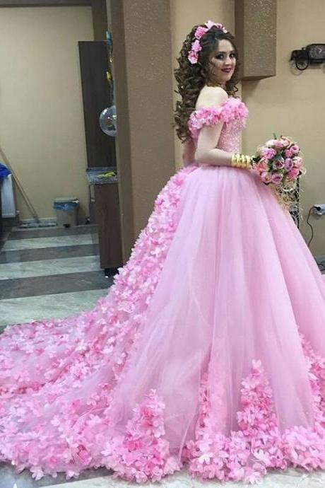 Pink Wedding Dresses,Flower Wedding Dresses,Tulle Quinceanera Dress,Sweet 16 Dresses