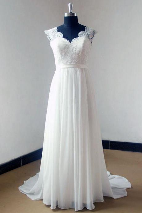 Lace Plunge V Cap Sleeves Floor Length Chiffon A-Line Wedding Dress Featuring Open Back and Sweep Train